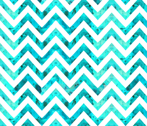 watercolor chevron aqua white fabric by katarina on Spoonflower - custom fabric