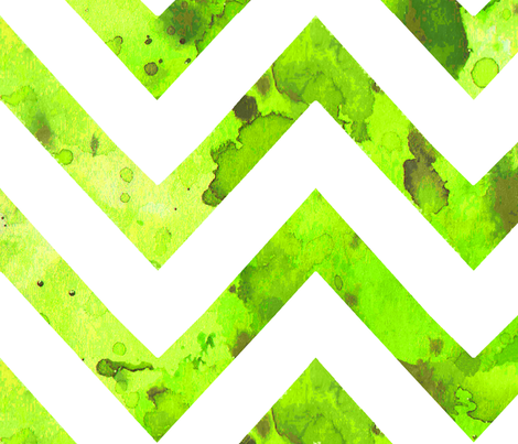 watercolor chevron green white