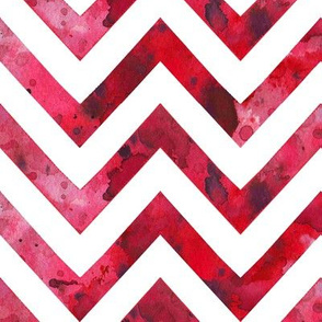 watercolor chevron red white
