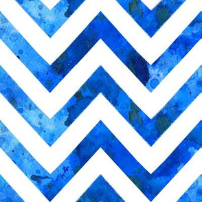 watercolor chevron ultramarine blue electric white