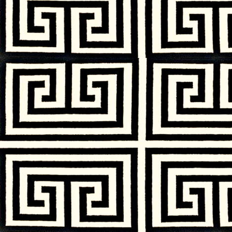 Greek Key-Black fabric by melberry on Spoonflower - custom fabric