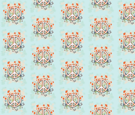 Wildflower Peace-Blue fabric by leahvanlutz on Spoonflower - custom fabric