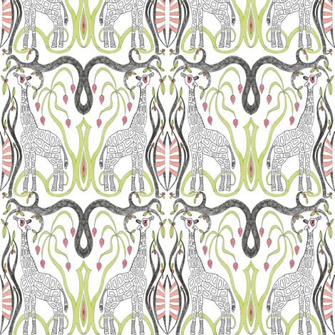 Giraffe in the Jungle fabric by mag-o on Spoonflower - custom fabric