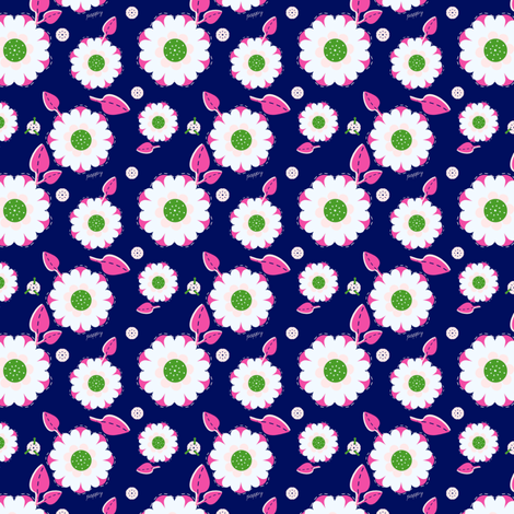 White & Pink Poppies fabric by eppiepeppercorn on Spoonflower - custom fabric