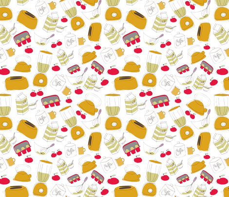 Pip Pip Hooray Retro Kitchen Fabric fabric by pippiphooray on Spoonflower - custom fabric