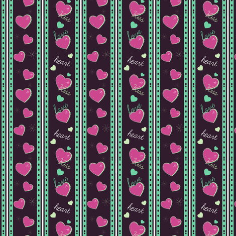 Colorful Love Heart Stripes fabric by eppiepeppercorn on Spoonflower - custom fabric