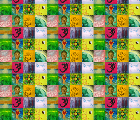 Patchwork Buddha fabric by leahvanlutz on Spoonflower - custom fabric