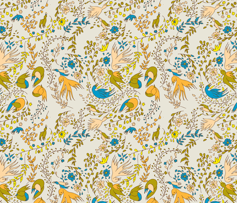 Bluebirds Swirling fabric by petitevitesse on Spoonflower - custom fabric