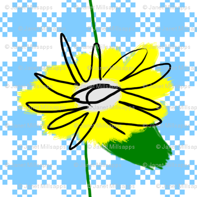 Small Dandelion Flowers on Gingham