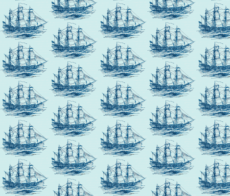 Clipper Ship-Blue fabric by leahvanlutz on Spoonflower - custom fabric