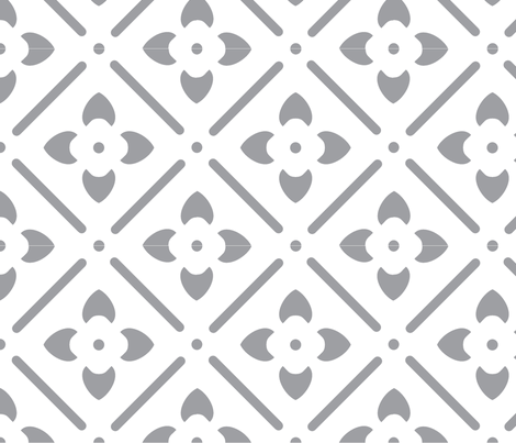 Flower Medallion-gray fabric by leahvanlutz on Spoonflower - custom fabric