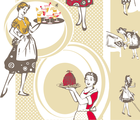 busy_retro_ladies fabric by johanna_design on Spoonflower - custom fabric