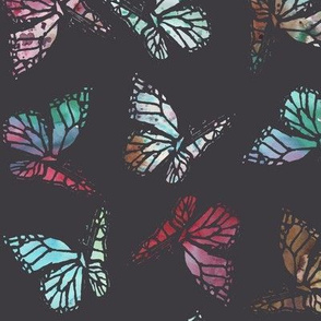 watercolor butterflies dark