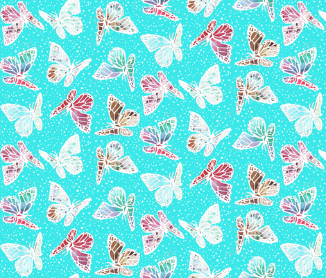 watercolor butterflies with pin dots fabric by katarina on Spoonflower - custom fabric