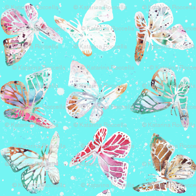 watercolor butterflies with dots
