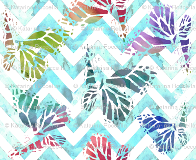 watercolor butterflies on aqua chevron