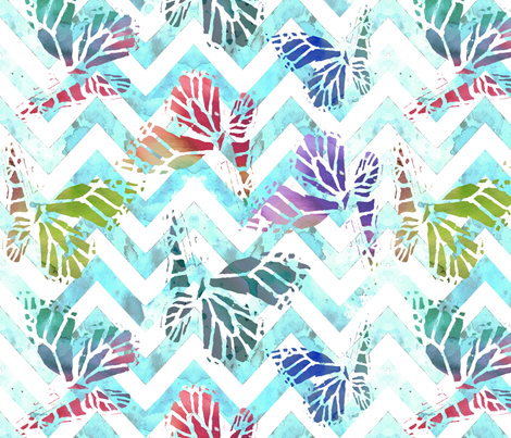 watercolor butterflies on aqua chevron fabric by katarina on Spoonflower - custom fabric