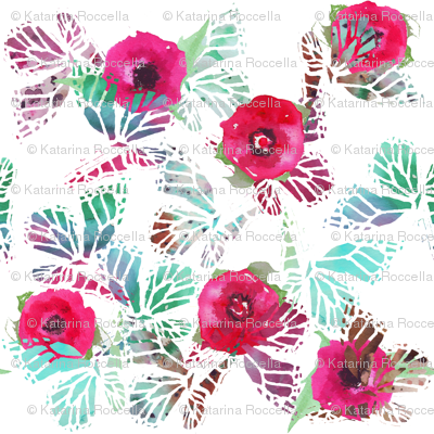 watercolor butterflies and poppies larger scale