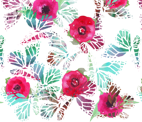 watercolor butterflies and poppies larger scale fabric by katarina on Spoonflower - custom fabric