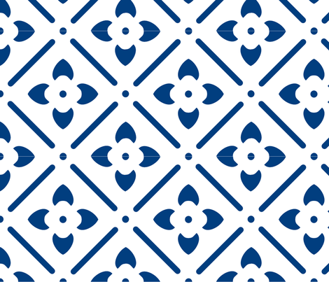 Blue Flower Geometry fabric by leahvanlutz on Spoonflower - custom fabric