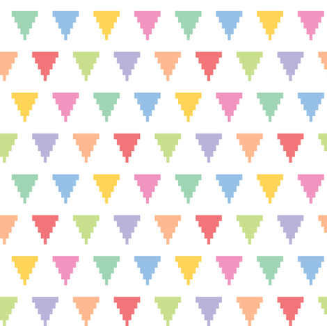 Pixelated multicolored triangles fabric by petitspixels on Spoonflower - custom fabric