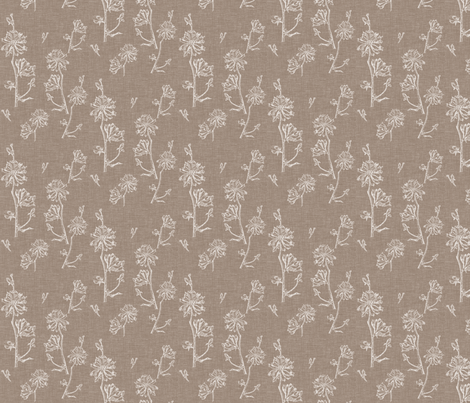 Chicory in Vintage Brown fabric by retrofiedshop on Spoonflower - custom fabric