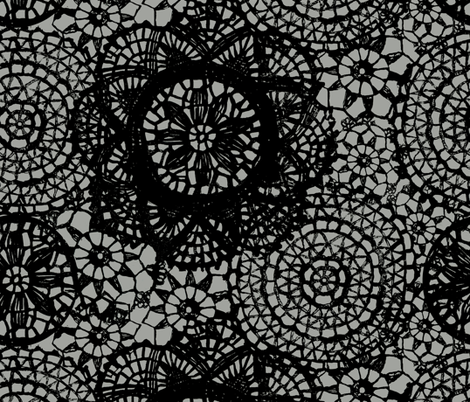 doilies black fabric by katarina on Spoonflower - custom fabric