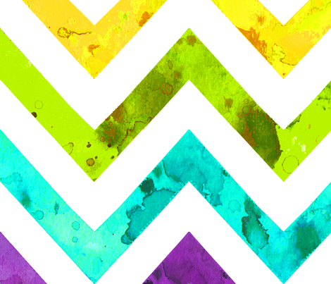 the largest stripe for the wallpaper- watercolor chevron rainbow fabric by katarina on Spoonflower - custom fabric