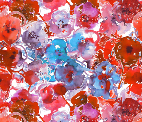 watercolor large summer flowers red and blue fabric by katarina on Spoonflower - custom fabric