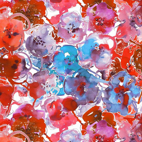 watercolor large summer flowers red and blue