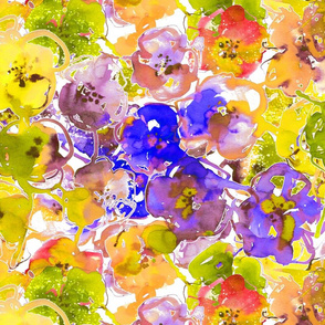 watercolor floral large purple yellow