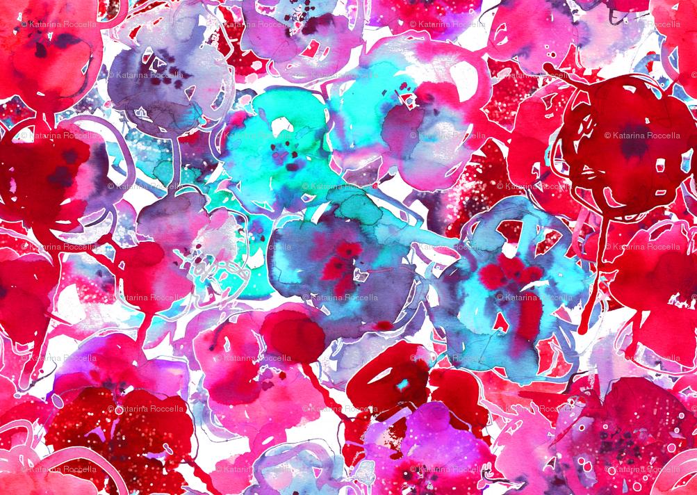 bright floral wallpaper watercolor floral large purple