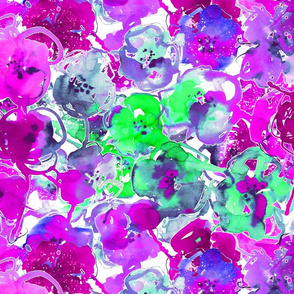 watercolor floral large purple green blue