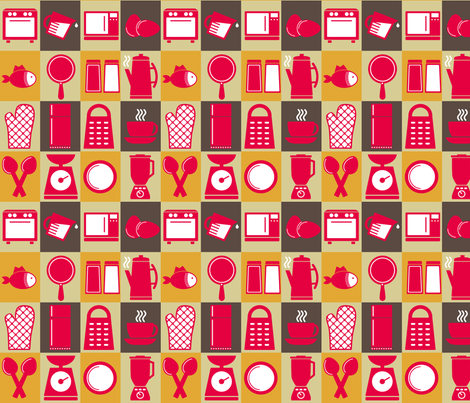 Mid-Century Modern -  Kitchen Kitsch fabric by studiofibonacci on Spoonflower - custom fabric