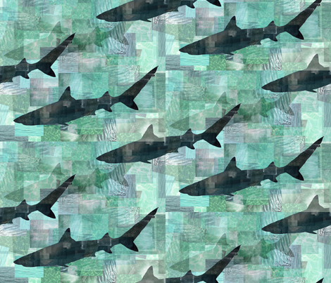 SHARK_COLLAGE_2 fabric by lusyspoon on Spoonflower - custom fabric