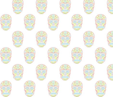 Calavera Sugar Skull fabric by carinaenvoldsenharris on Spoonflower - custom fabric