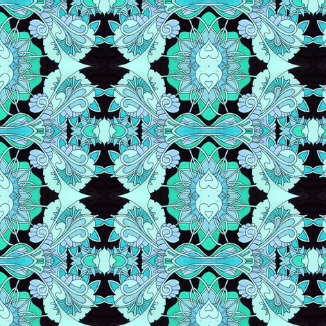 Blue Damask fabric by edsel2084 on Spoonflower - custom fabric