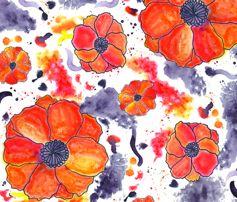 Painted Poppies fabric by robyriker on Spoonflower - custom fabric