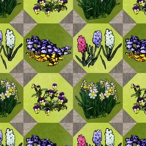 Tiled Flowers 2x2_octo_tile_greenplus_flowers