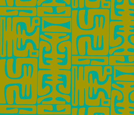 Marquesan Mambo in lagoon Glow-ch fabric by sophista-tiki on Spoonflower - custom fabric
