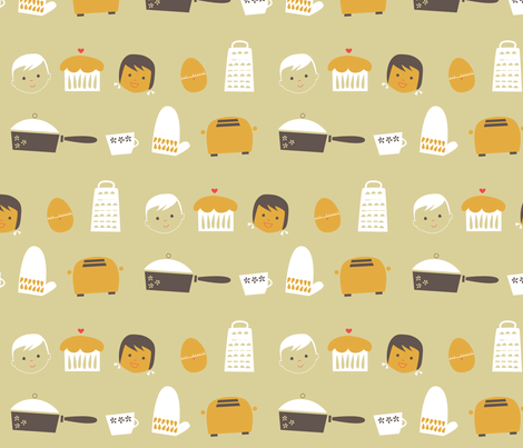 Retro Kitchen fabric by olliegraphic on Spoonflower - custom fabric