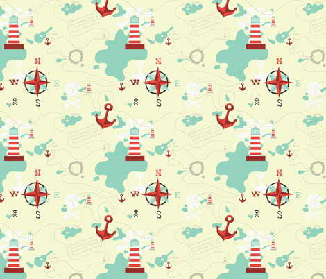 pirate map fabric by katja_saburova on Spoonflower - custom fabric