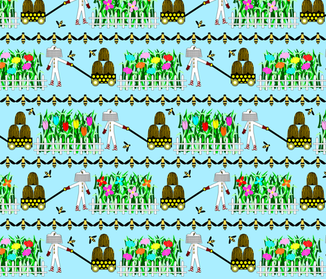 Bee Walking fabric by loopy_canadian on Spoonflower - custom fabric