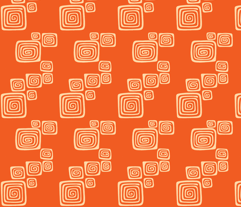 squared spirals in blood orange fabric by sophista-tiki on Spoonflower - custom fabric