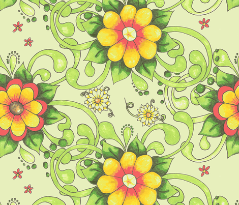 Shirley-green back fabric by neetz on Spoonflower - custom fabric