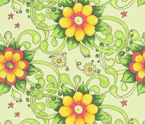 Shirley-green back fabric by neetz on Spoonflower - custom fabric