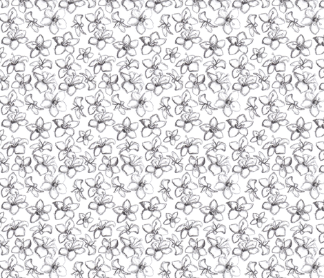 sketched_blossoms_black fabric by art_deco on Spoonflower - custom fabric