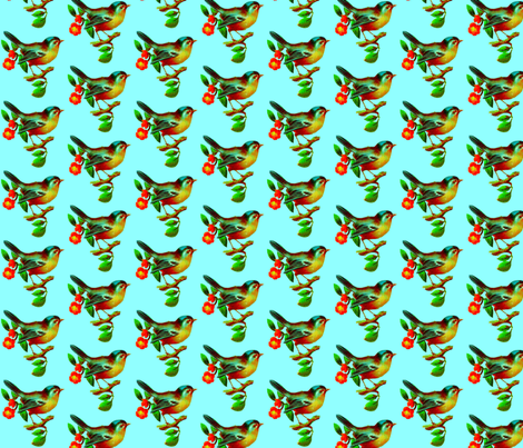 vintage bird blue fabric by weebeastiecreations on Spoonflower - custom fabric