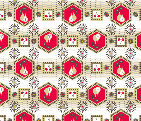 Pears-n-Cherries Retro-Kitchen fabric by mag-o on Spoonflower - custom fabric