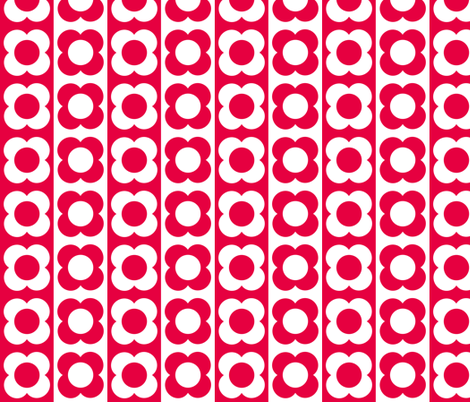 Retro Flower Red White